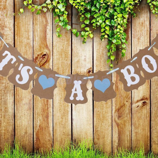 Picture of It's A Boy Blue Hearts Bunting Banner Garland Baby Shower Wedding Party Decor