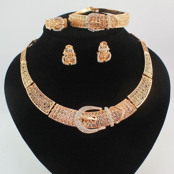 f2ac385091daf Fashion Africa Dubai Wedding Jewelry Sets Women 18K Gold Plated Necklace  Earrings Bracelet Ring Jewelry Set