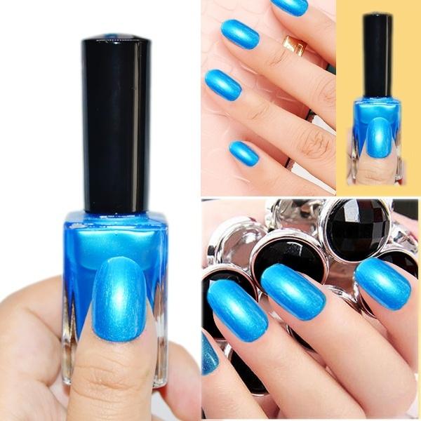 Picture of 1pc 15ml Shimmer Blue Nail Art Polish Nail Enamel Nail Varnish