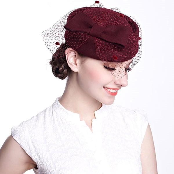 Wedding Hat for Women Elegant Fascinators Pillbox Hats with Veil Vintage Ladies Fedoras