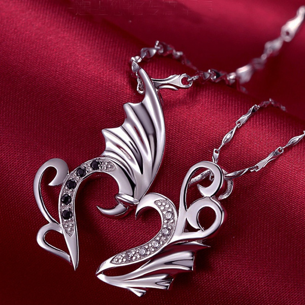 Wings Love Pendant Heart Necklace Men And Women Necklaces Rhinestone Jewelry