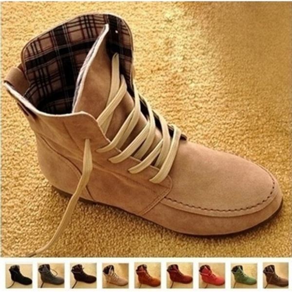Picture of Women Flat Ankle Snow Motorcycle Boots Female Suede Leather Lace-up Martin Boot Plus Size 4.5-10