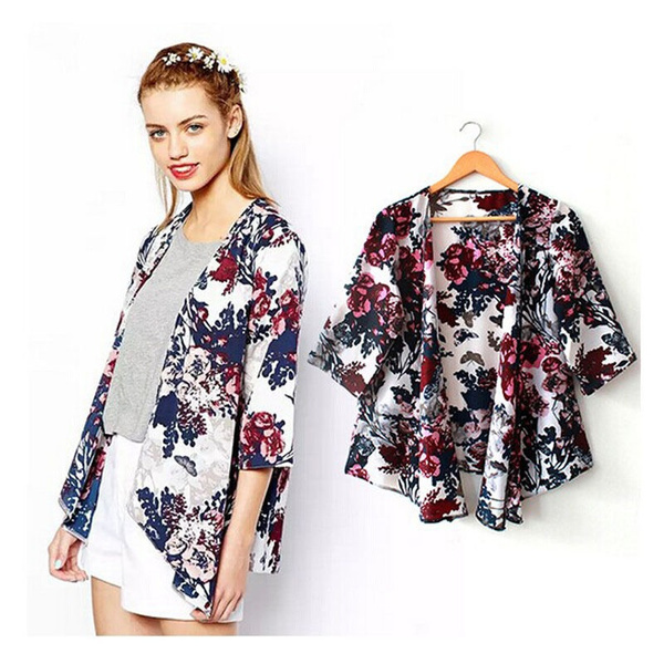 5daef353f New Retro Boho Floral Hippie Cardigan Coat Blouse Kimono Cape Blazer Jacket  Tops | Wish