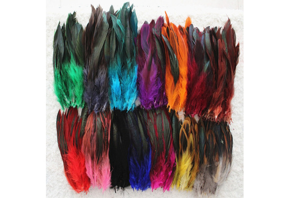 50PCS 5-7inch Natural Dyeing Rooster Feathers 14 Colors Choose