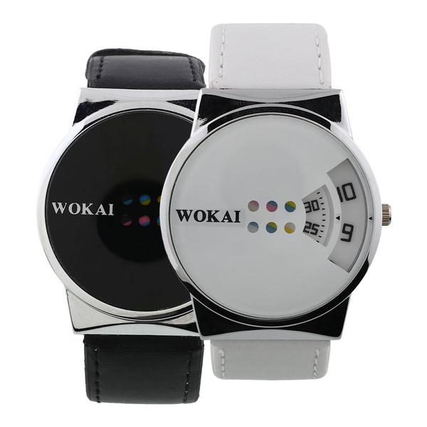 Picture of Fashion Men Women Couple Leather Strap Band Dial Digital Analog Quartz Wrist Watch