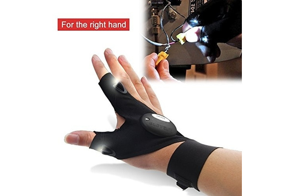 Magic Strap Fingerless Gloves with Hands Free LED Flashlights Thump Finger Glove