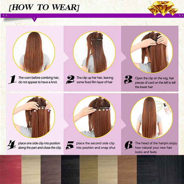 Geek Clip In Hair Piece 2460cm 2666cm One Piece 5 Clips Long