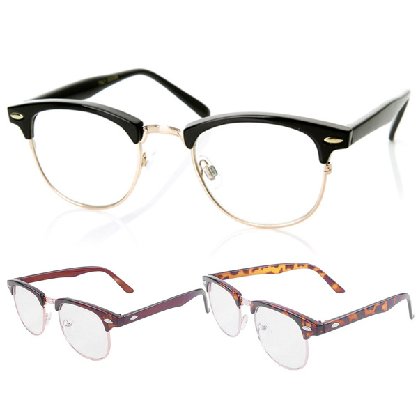 Picture of Retro Clubmaster Wayfarer Clear Lens Nerd Frames Glasses Half Metal