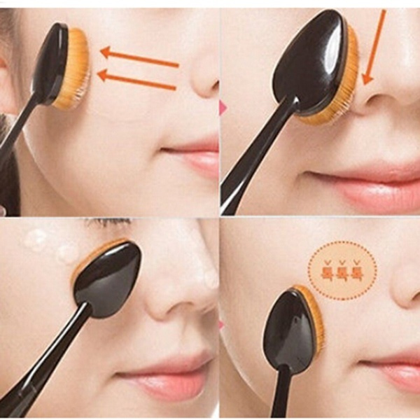 1 PC Makeup Face Powder Blusher Toothbrush Curve Brush Oval Cosmetic Tool