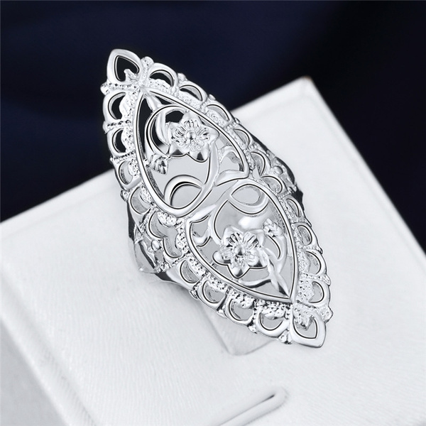 Picture of Fashion Cute 925 Sterling Silver Filled Hollow Big Ring