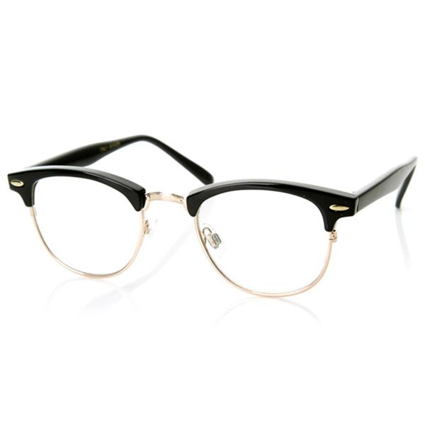 Unisex Hipster Vintage Retro Classic Half Frame Glasses Clear Lens Nerd Eyewear