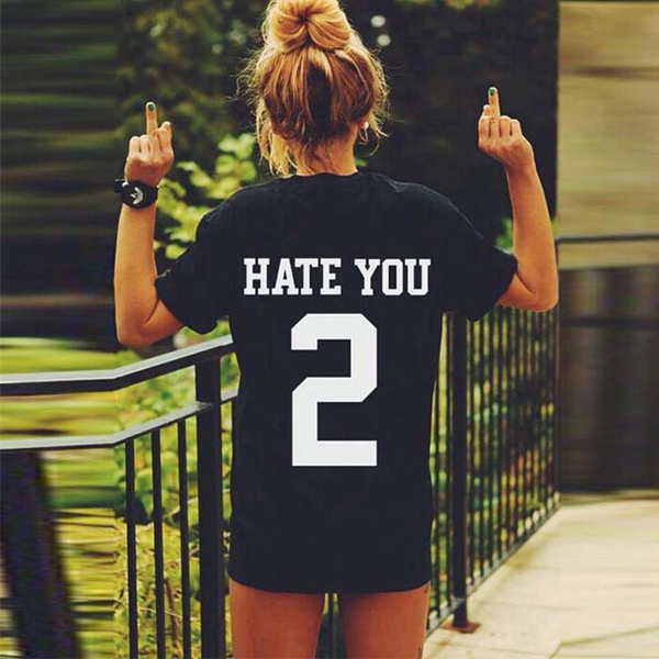 Picture of Hate You Number 2 Printed Punk Rock Women Boyfriend Lovers T-shirt