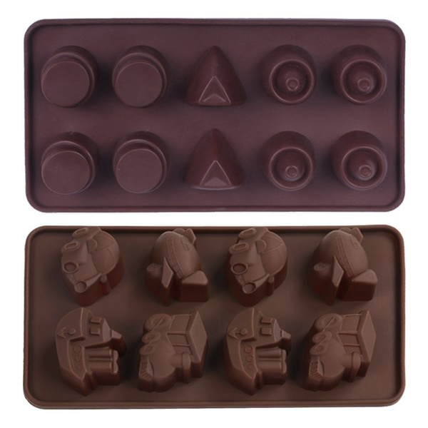 Silicone Molds - Cake Baking Mold - Candy Molds - Chocolate Molds -  Popsicle Molds Vehicles & Geometric Pattern - 2 Piece