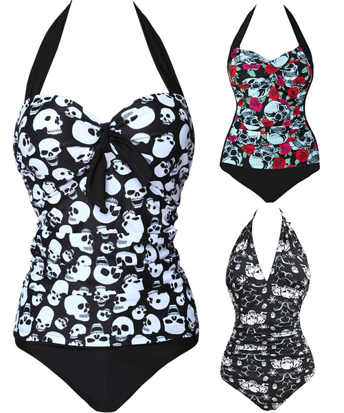 Picture of Women Plus Size Gothic Black Skull Beachwear Halter Backless Push Up Swimwear One Piece Bathing Suit
