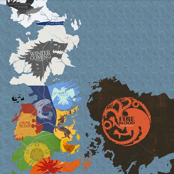 Game Of Thrones Houses Map Westeros And Free Cities Poster home deco Map Of Game Thrones Poster on