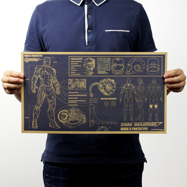 Picture of Iron Man Design Drawings Of The Retro Poster Paper Of The Painting Of The Living Room Of The Living Room Of The Ktv Bar