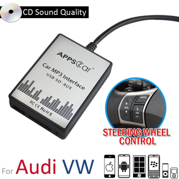 APPS2CAR Car Audio Adapter for Ipod Iphone Samsung Android Smartphone Cell  Phone - SD Card USB AUX Jack Input - Universal Steering Wheel Control