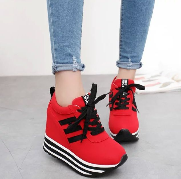 s platform sport shoes increase casual lace up