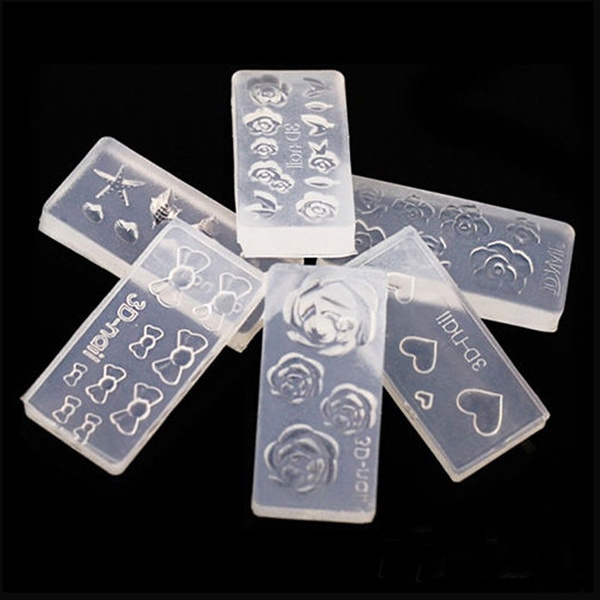 Picture of 6pcs Fashion Durable 3d Acrylic Mold For Nail Art Diy Decoration Design Silicone