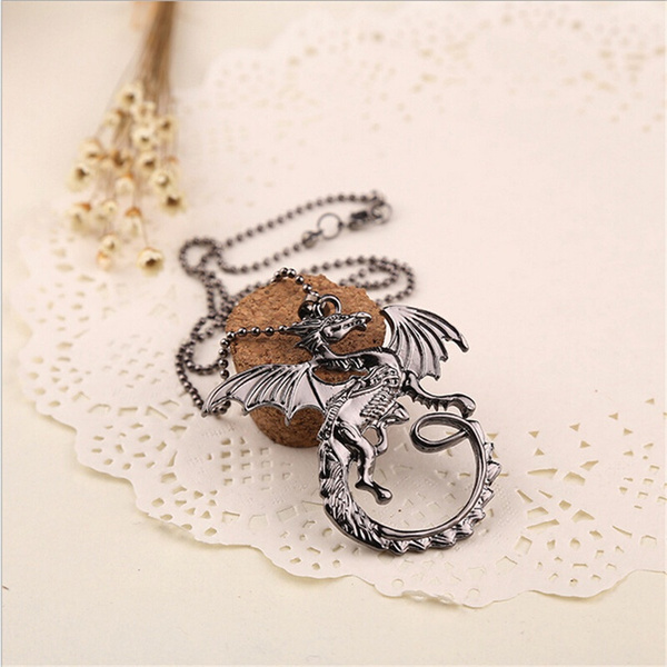Fashion Retro Song of Ice and Fire Cool Targaryen Dragon Pendant Necklace (Color: Silver)