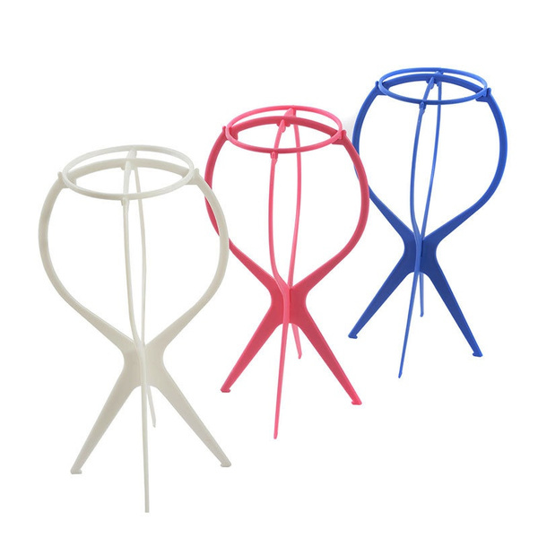 Picture of Plastic Folding Stable Durable Wigs Hair Hat Cap Stand Holder Wig Stand Wig Display Stands Beauty Hair Accessories