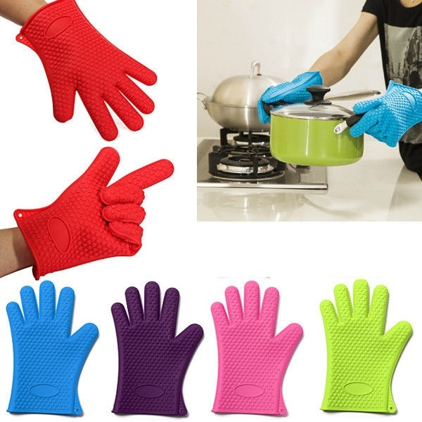 Picture of Kitchen Heat Resistant Silicone Glove Oven Pot Holder Baking Bbq Cooking Mitts Dishwashing Gloves