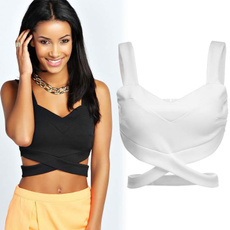 Women's Sleeveless Slim Fitting Sexy Casual Bralet Strap Crop Tanks Tops Vest