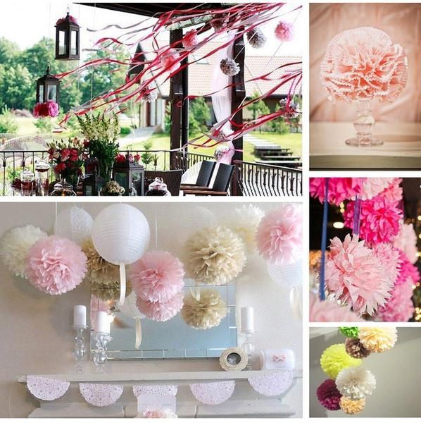 Picture of 5pcs 8 20cm Tissue Paper Pom Poms Mix Color Flower Balls Wedding Pom Poms Wedding Supplies Decoration