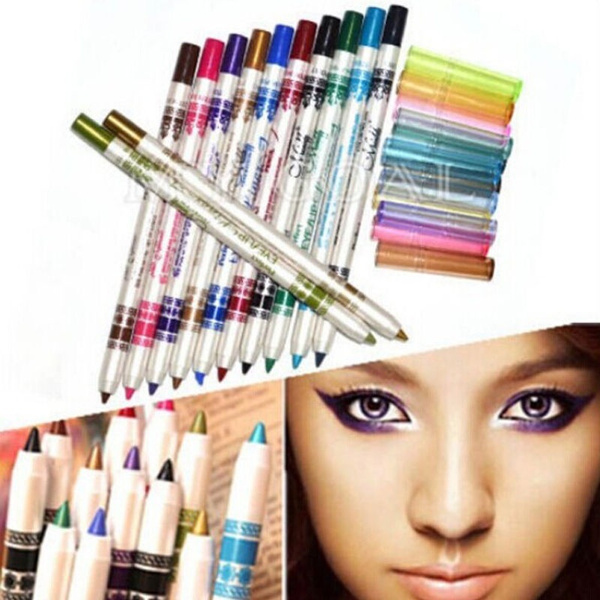 Glitter Lip liner Eye Shadow Eyeliner Pen Makeup Cosmetic Sets 12 Colors Woman