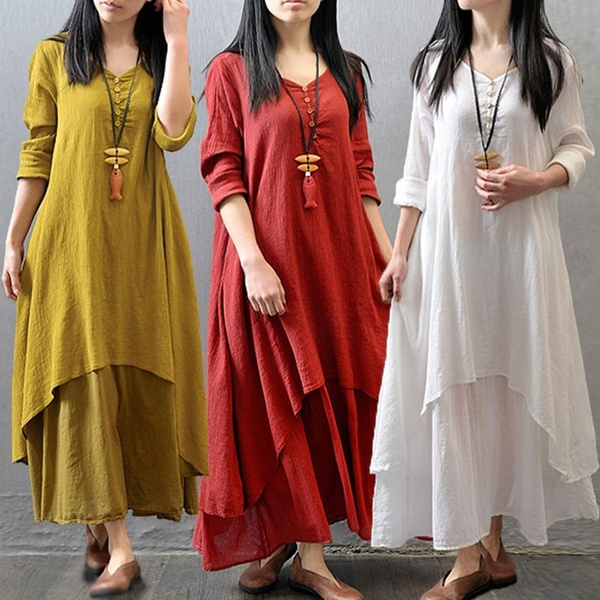 6cae352c15 2015 Fashion Women Autumn Cotton Linen Boho Solid Long Maxi Dress ...