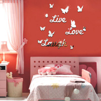 Live Laugh Love Quote Removable Vinyl Wall Decal Stickers Mirror Decor Art DIY