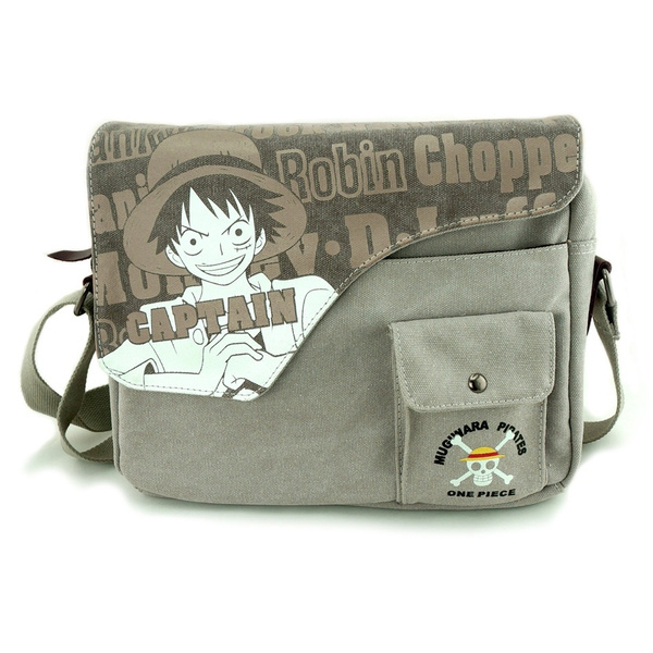 Picture of Cute Anime Cartoon Image One Piece Monkey D Luffy Skull Heads Pattern Washing Canvas Retro Shoulder Bag Messenger Bags Size 33 Cm Color Beige Color Grey