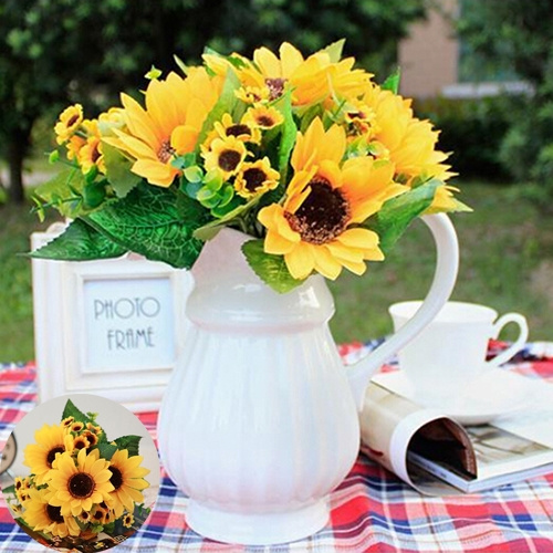 Picture of 1pc 7 Heads Fake Sunflower Artificial Silk Flower Bouquet Home Wedding Floral Decor Fashion Accessories Size One Size Color Yellow