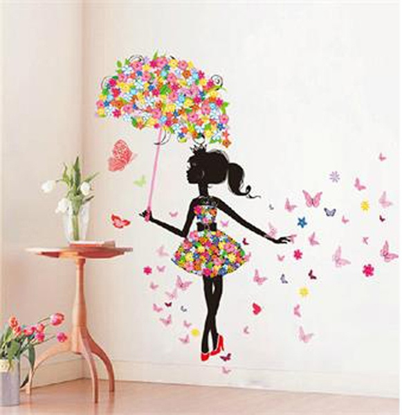 homedecorsticker, Flowers, art, butterflygirlwallsticker