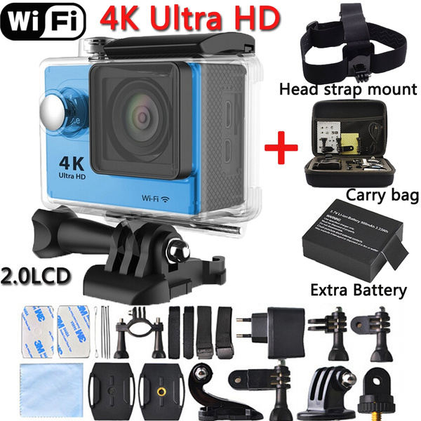 Picture of Extra Battery+carry Bag+head Mountultra Hd 4k Sports Camera 2-inch Lcd Mini Waterproof 1080p/60fps Hdmi Wifi Dv Action Helmet Sport Camcorder H9