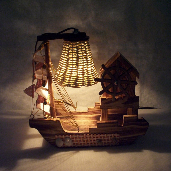 Picture of Creative Personality Wooden Boat Lamp With Music Box Home Decoration