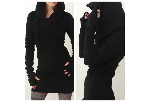 Women Autumn Long Sleeve Pure Color Hooded Hoodies Slim Fit Pullover Sweater Mini Skirt S-XL