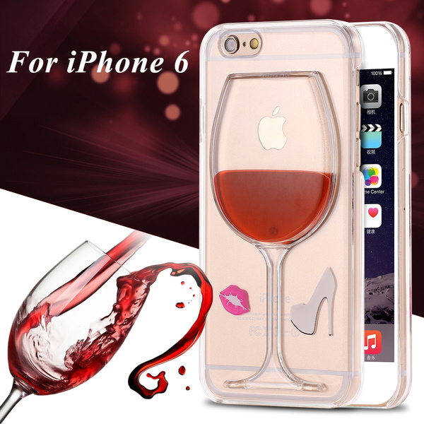 Wish | Liquid Quicksand Red Wine Glass Beer Glass Clear Transparent Hard PC Phone Case For Apple Iphone 6 6s Plus 5s Samsung Galaxy Note 4 5 s6 s6 edge s5 ...