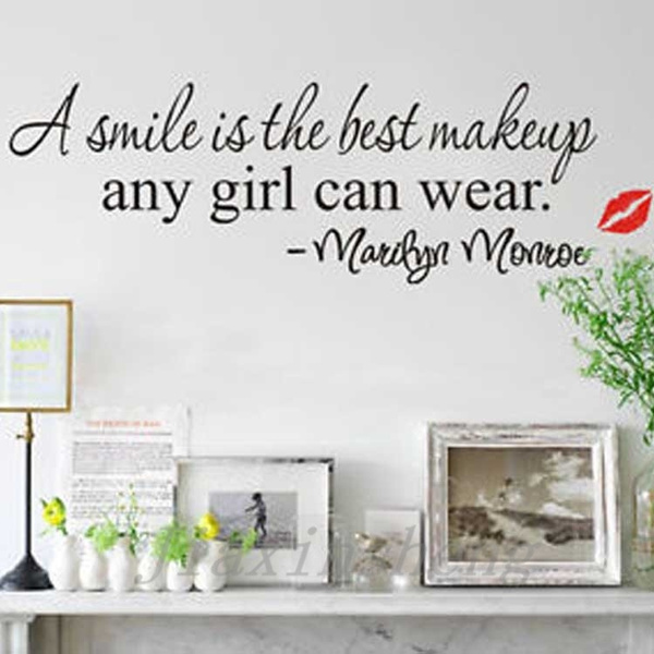 wish new design a smile is the best makeup quote wall sticker art mural home decals decor vinyl home decoration