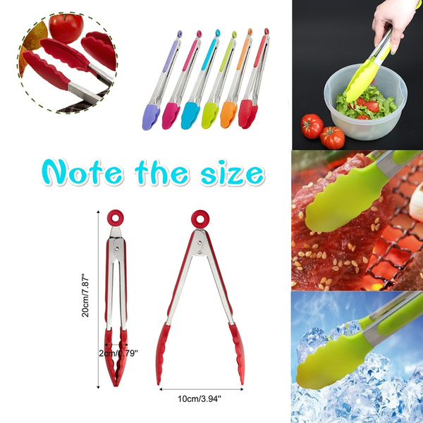 Picture of Silicone Kitchen Cooking Salad Serving Bbq Tongs Stainless Steel Handle Utensil