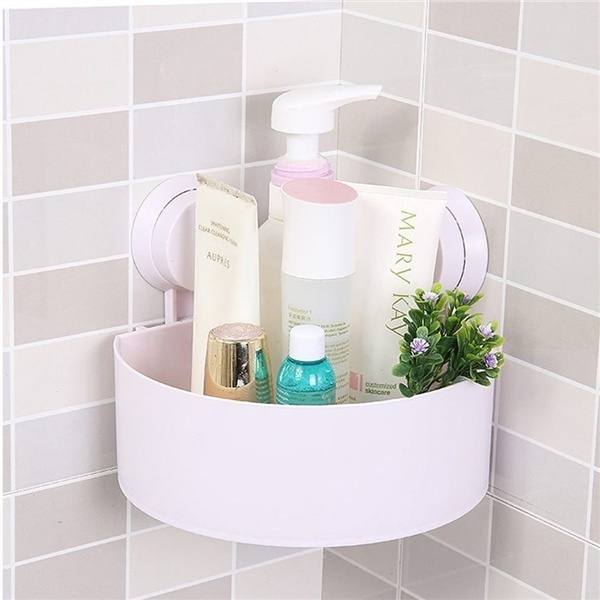 Wish | Plastic Suction Cup Bathroom Kitchen Corner Storage Rack Organizer Shower Shelf ?Random Holes? & Wish | Plastic Suction Cup Bathroom Kitchen Corner Storage Rack ...