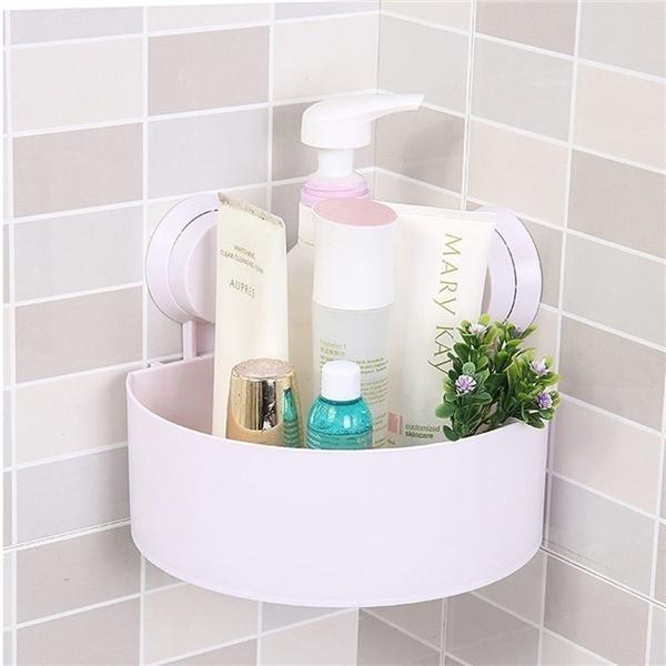 Wish Plastic Suction Cup Bathroom Kitchen Corner Storage Rack Organizer Shower Shelf Random Holes