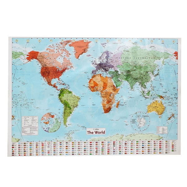 97.5 x 67.5cm World Map Poster Giant Wall Chart With Flags of the Globe  Atlas