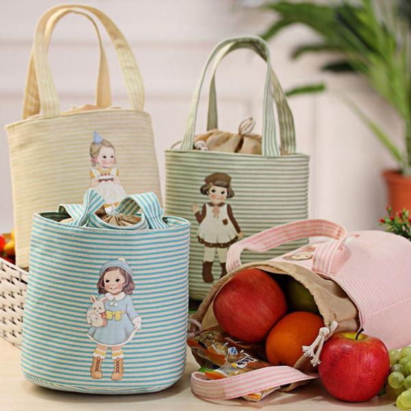Picture of Thermal Insulated Box Tote Cooler Bag Bento Pouch Lunch Storage Case Color Yellowpinkgreenblue