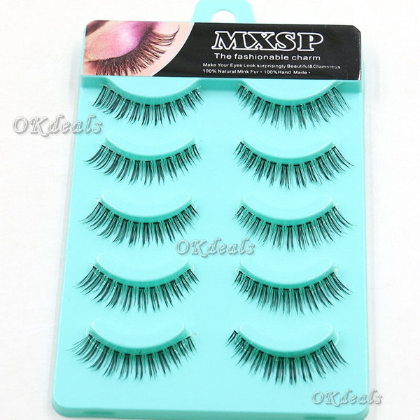 Picture of 5 Pairs Natural Thick False Eyelashes Long Handmade Makeup Eye Lashes Extension