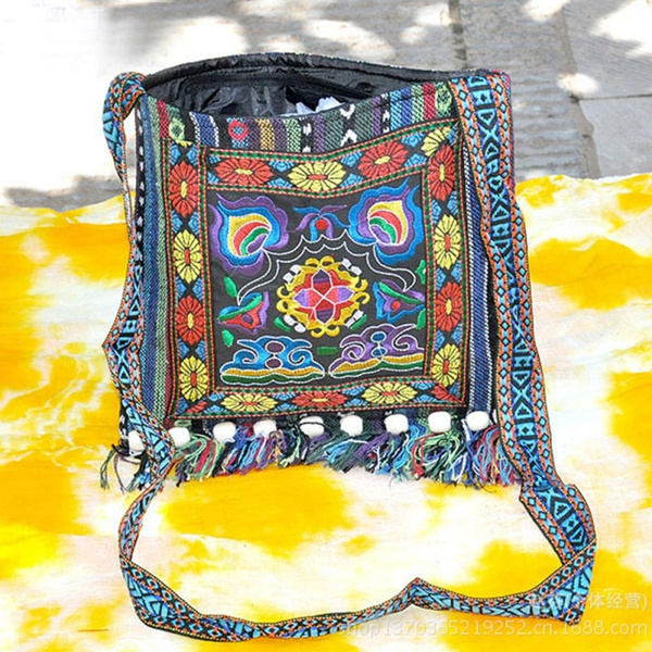 Picture of Multi-color Thai Embroidered Hill Tribe Totes Messenger Bag Boho Hippie Hobo Size 150 G