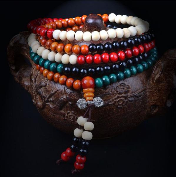 Picture of Sandalwood Buddhist Buddha Meditation 216 Prayer Bead Mala Bracelet/necklace
