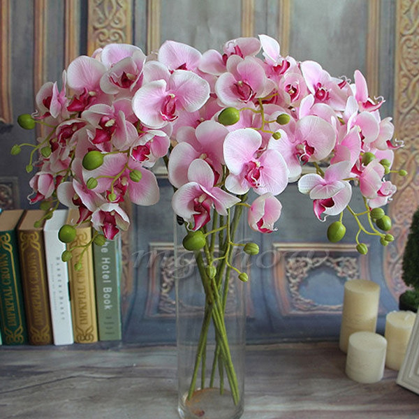 Picture of Artificial Silk Colorful Phalaenopsis Butterfly Orchid Leaf Pot Flower Arrangement