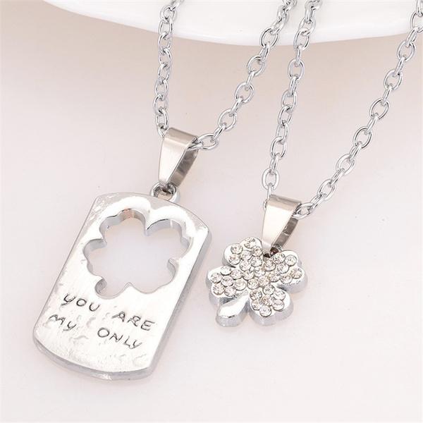 Wish 2pcs Alloy Women Men Lovers Couple Broken Heart Pendant Chain