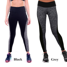 New Fashion Woman Sport Yoga Leggings Patchwork Black Gray High Waisted Stretched Leggings Gym Finess Running Workout Pants S/M/L/XL/XXL/XXXL